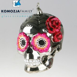 KOMOZJA family - Christbaumschmuck - MEXICAN SKULL pink eyes