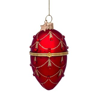 Vondels - Christbaumschmuck aus Glas - Red decorated egg...