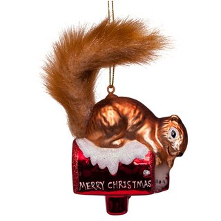 Vondels - Christbaumschmuck aus Glas - Brown squirrel on...
